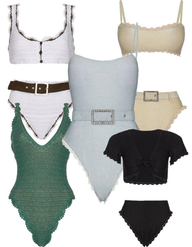 Hvit bikini, kr 980. Beige bikini, kr 1176. Blå badedrakt,kr 1176. Grønn badedrakt, kr 1045. Svart bikini, kr 1045.