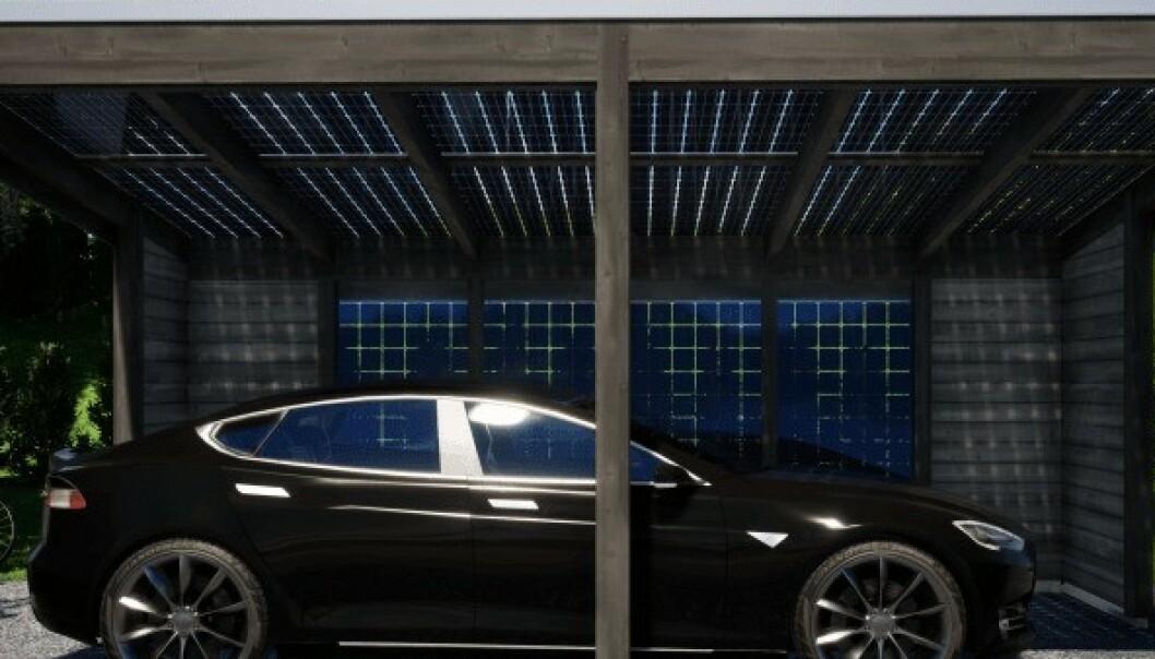 I denne garasjen lader elbilen seg selv