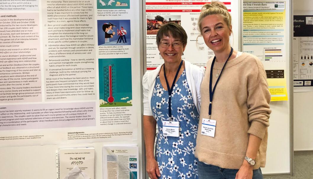 DRIFTIG DAME: -Jeg vil illustrere at ADHD ikke bare er en hindring, sier Anne Marie Fosse Teigen (t.v.). Her er hun sammen med Hanne Skarsvaag fra ADHD Norge på Verdenskongressen for ADHD i Lisboa. Foto: Privat.