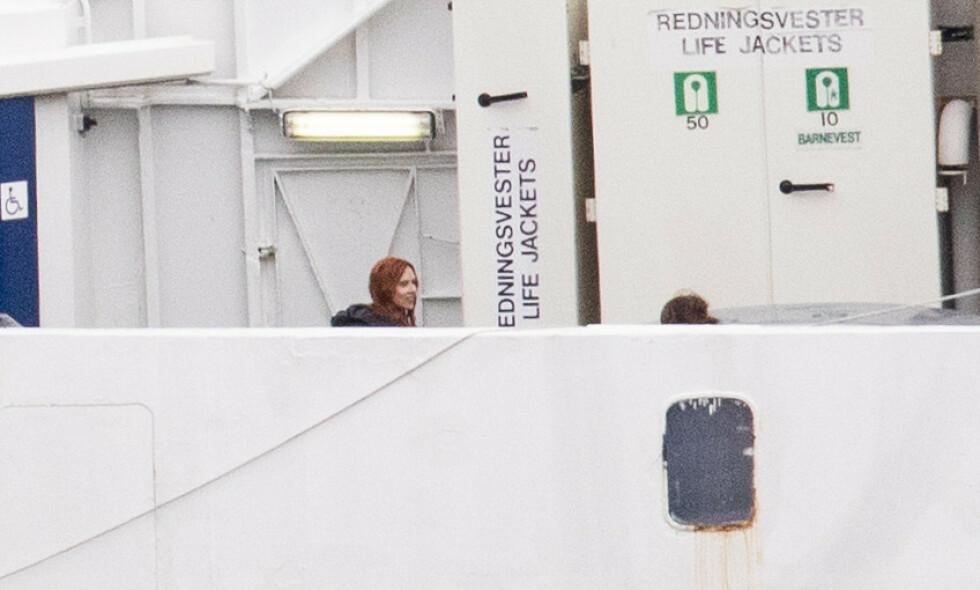 BLACK WIDOW: Scarlett Johansson spiller Black Widow i filmen med samme navn. Onsdag morgen begynte filminnspillingen om bord på ferja Goma. Foto: Christian Roth Christensen / Dagbladet