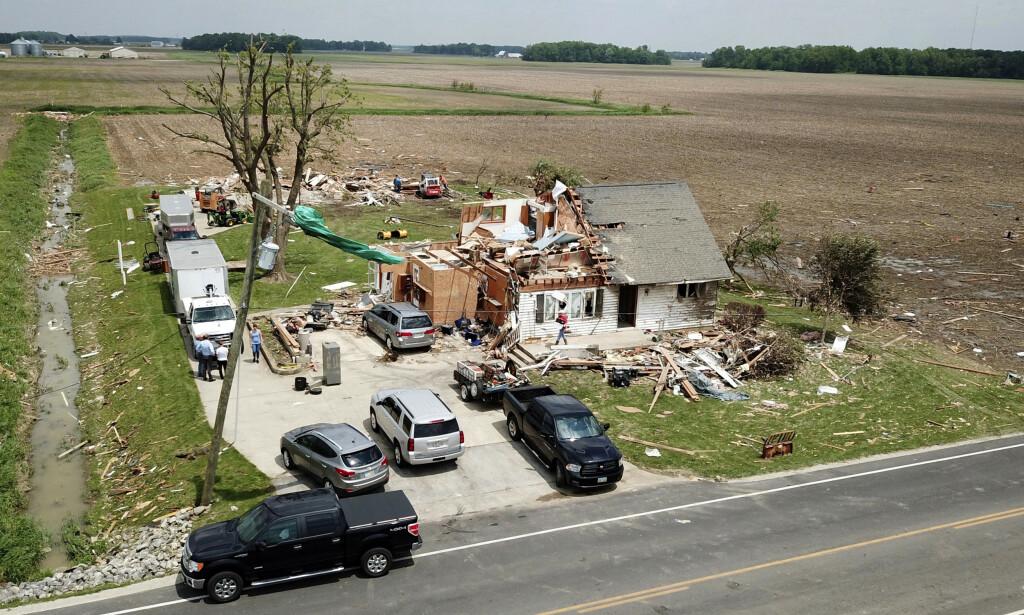 Et bolighus ødelagt av en tornado utenfor byen Celina i Ohio tidligere denne uken. Foto: Ryan Snyder / Daily Standard / AP / NTB scanpix
