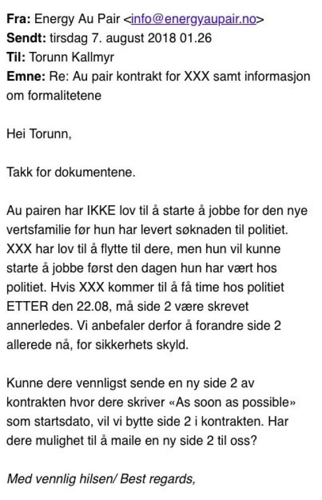 fdb57c55 Jøran Kallmyrs au pair - Justisministeren skylder på denne e-posten ...