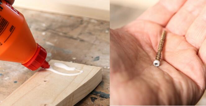 Sammenføyninger: Bruk lim og skruer. MIn favoritskrue er dobbeltgjengede listeskruer. Foto: Øivind Lie-Jacobsen