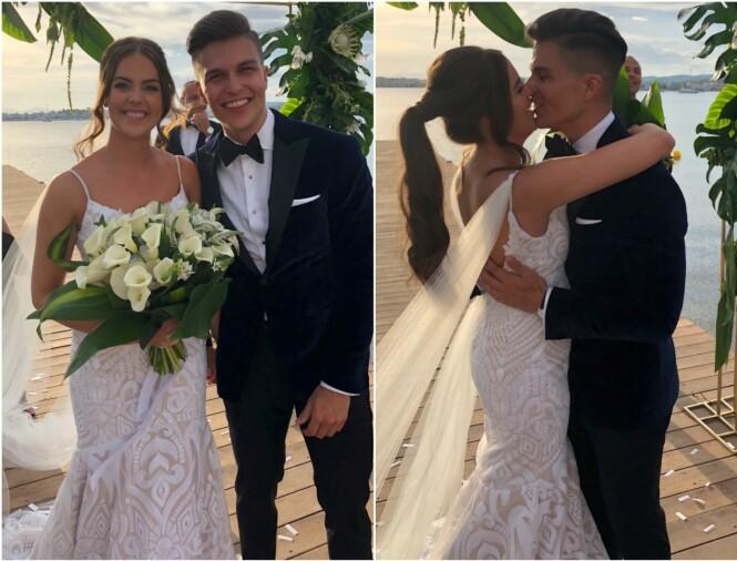 STRÅLTE: Atle Pettersen og Cathrine Eide ga hverandre sine ja i en romantisk seremoni i Hellas. Foto: Lars Gautneb