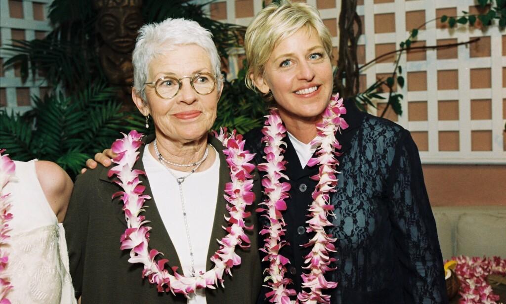 SNAKKER UT: Etter at Ellen DeGeneres tidligere denne uka fortalte at hun skal ha blitt misbrukt som tenåring, forteller moren hennes, Betty DeGeneres, nå om hvordan det har påvirket henne. Foto: NTB Scanpix
