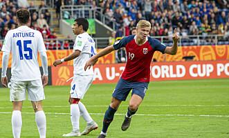 <strong>HERJET:</strong> Erling Braut Haaland scoret vanvittige ni mål mot Honduras i U20-VM. Foto: Svein Ove Ekornesvåg / NTB scanpix