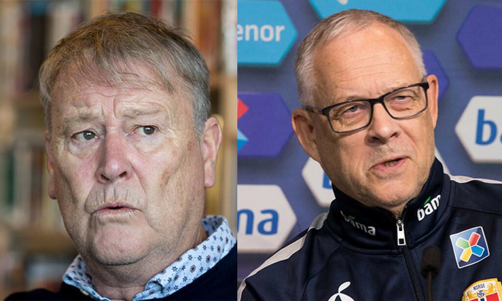LANDSLAGSSJEFER: Åge Hareide skal lede Danmark mot Irland til uka. Lars Lagerbäck og Norge får besøk av Romania på Ullevaal. Foto: NTB scanpix