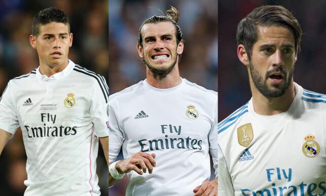PÅ VEI BORT: Denne stjernetrioen, bestående av James Rodriguez (t.v.), Gareth Bale og Isco kan bli brukt i en byttehandel med Manchester United i sommer.