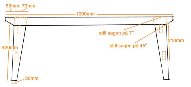 Mål: Klossene mellom spilene skal ha samme lengde som toppen av benet, eks 73mm. Illustrasjon: Øivind Lie-Jacobsen