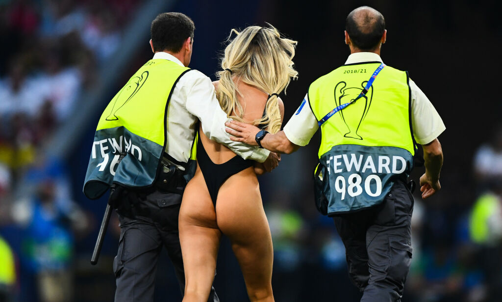 Editorial use only Mandatory Credit: Photo by BPI/REX (10265937lc) A streaker is taken away by the stewards Tottenham Hotspur v Liverpool, UEFA Champions League Final, Football, Wanda Metropolitano Stadium, Madrid, Spain - 01 Jun 2019