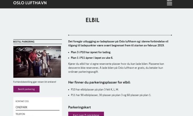 INGEN INFORMASJON: Verken på OnePark eller Avinor sine sider opplyses det om ustabil lading. Skjermdump: Avinor.no