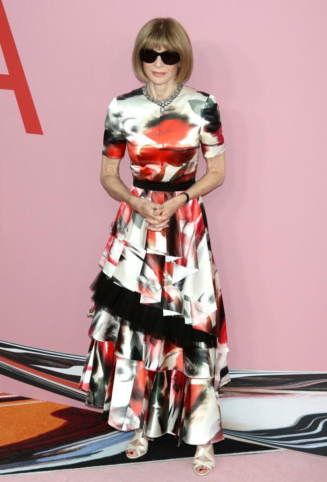 LEGENDE: Vogue-redaktør Anna Wintour er en selvskreven gjest på arrangementer som CFDA-utdelingen. Foto: NTB Scanpix
