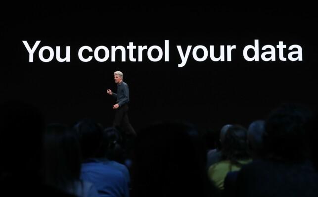 Personvern preger mange presentasjoner om dagen, også når Apple viser fram nyhetene i iOS 13. Nå blir de enda strengere. 📸: Justin Sullivan / AFP / NTB Scanpix