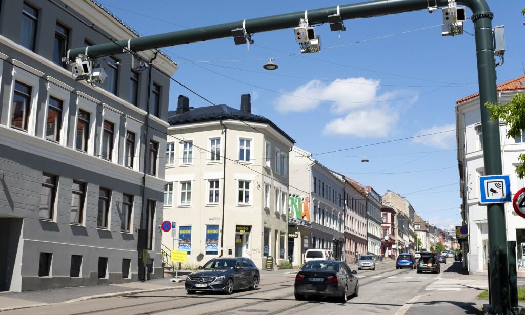 Fra 1. juni 2019 ble det et helt nytt bompengesystem i Oslo. Innkrevingen av bompenger fordeles på tre bomringer med totalt 83 bomstasjoner. Her er en av de nye som er montert i Vogts gate. Foto: Fredrik Hagen / NTB scanpix
