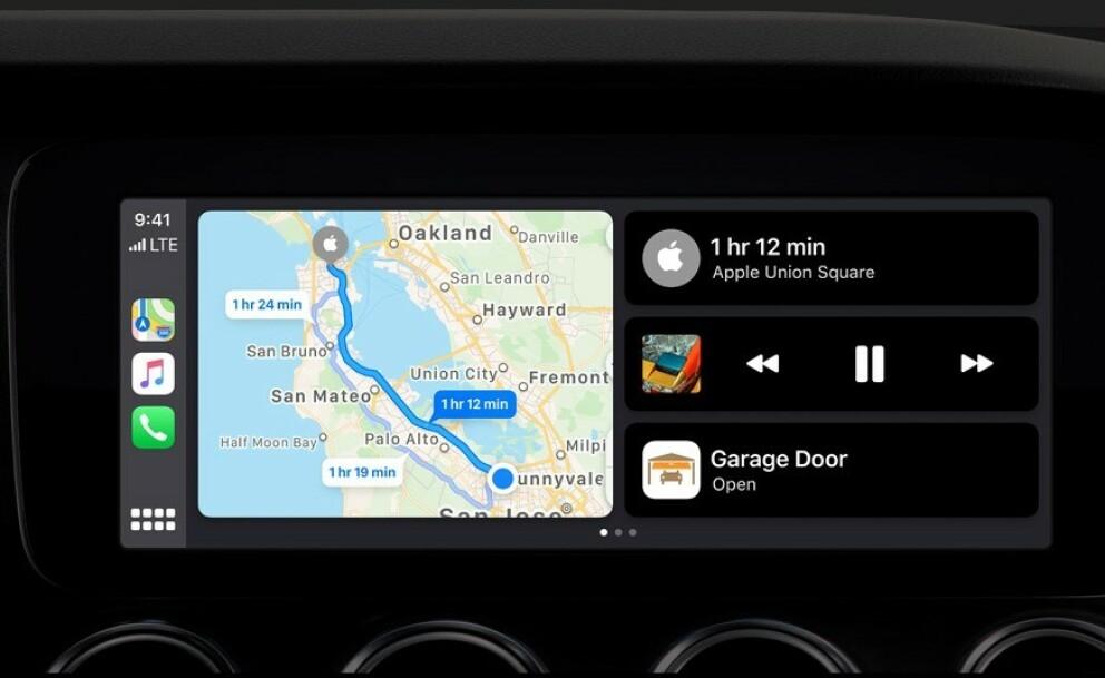 NY CARPLAY: Apple CarPlay oppdateres med bedre visning og nye funksjoner. Foto: Skjermdump, apple.com