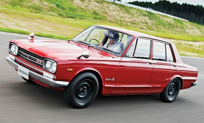 <strong>DEN FØRSTE:</strong> GT-R var tilgjengelig både som coupé og firedørs utgave og er et av de største ikonene i Japan. Foto: Nissan