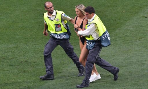 Editorial use only Mandatory Credit: Photo by Bagu Blanco/BPI/REX (10266707aq) Streaker Kinsey Wolanski is escorted off the pitch by stewards Tottenham Hospurt v Liverpool, UEFA Champions League Final. Football, Wanda Metropolitano Stadium, Madrid, Spain -  01 Jun 2019