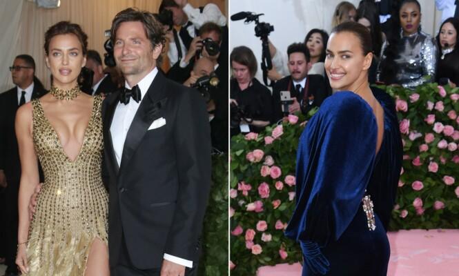 ALENE PÅ LØPEREN: I 2018 poserte både Bradley Cooper og Irina Shayk for fotografene under Met-gallaen. I år dukket Shayk opp alene. Foto: NTB Scanpix