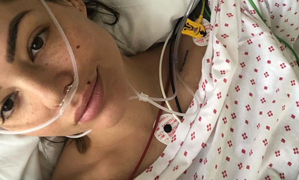 <strong>SKADET:</strong> Triana Inglesias havnet på sykehus etter en ulykke på realitygården. Foto: Privat