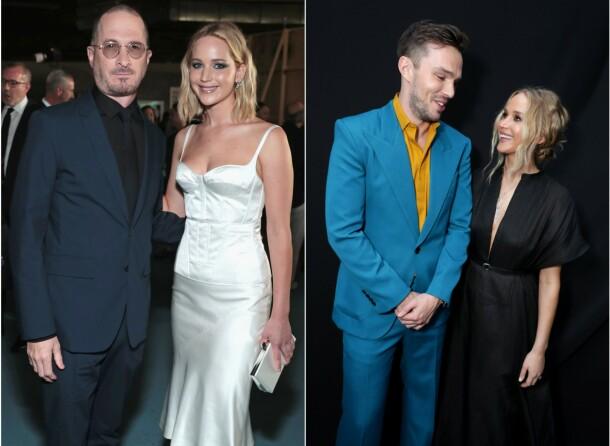 EKSER. Jennifer Lawrence avbildet med Darren Aronofsky og Nicholas Hoult, som hun også har jobbet med profesjonelt. Foto: NTB scanpix