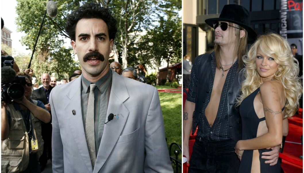 SPILTE SAMMEN: Skuespiller Pamela Anderson hadde en mindre rolle i filmen «Borat». Nå bekrefter Sacha Baron Cohen at det ikke falt i god jord hos hennes ektemann. Foto: NTB Scanpix