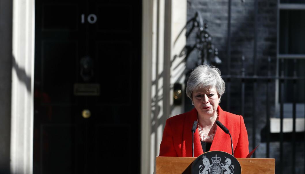 Theresa May gikk fredag av som partileder for Det konservative partiet. Hun blir imidlertid sittende som statsminister til en ny partileder er valgt. Bildet er fra da May for to uker siden kunngjorde sin avgang. Foto: Bertrand Guay / AP / NTB scanpix