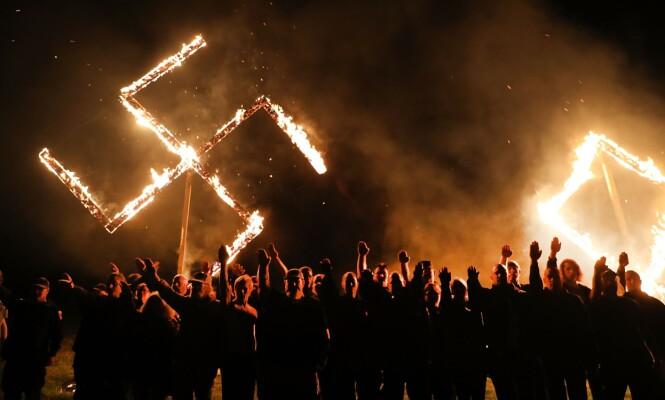 <strong>BESKYTTET:</strong> Nynazister i Draketown i Georgia kunne med loven i ryggen bruke hakekors under denne demonstrasjonen i fjor vår. Bruken av symbolet er beskyttet av første lovtillegg, om ytringsfrihet. Foto: Spencer Platt / Getty Images / AFP / NTB Scanpix
