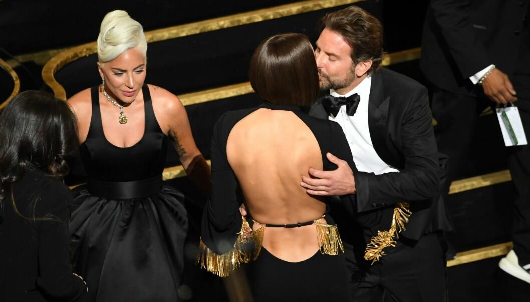 TIDSTYV: Det skal ha vært innspillingen av «A Star Is Born» med Lady Gaga som ødela forholdet til Bradley Cooper og Irina Shayk (i midten). Foto: NTB scanpix