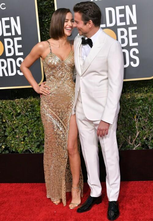 STRÅLTE SAMMEN: Alt så ut til å være fryd og gammen da Irina Shayk og Bradley Cooper ankom Golden Globe-utdelingen sammen i januar. Foto: Rob Latour/ REX/ NTB scanpix