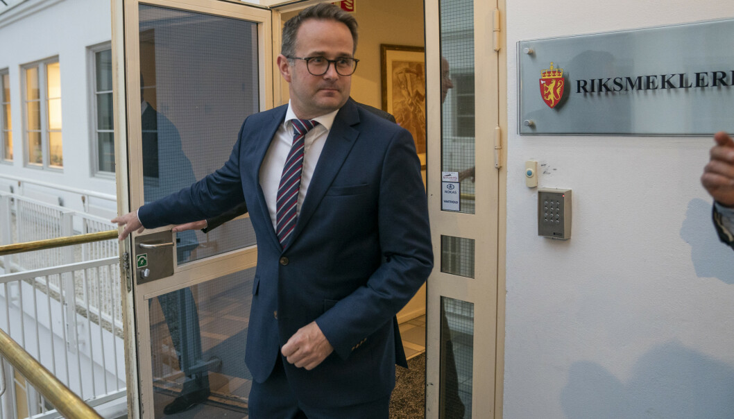 – Det er jeg som har oppfordret partene til å møtes til frivillig mekling, sa riksmekler Mats Wilhelm Ruland før møtet tirsdag. Foto: Heiko Junge / NTB scanpix