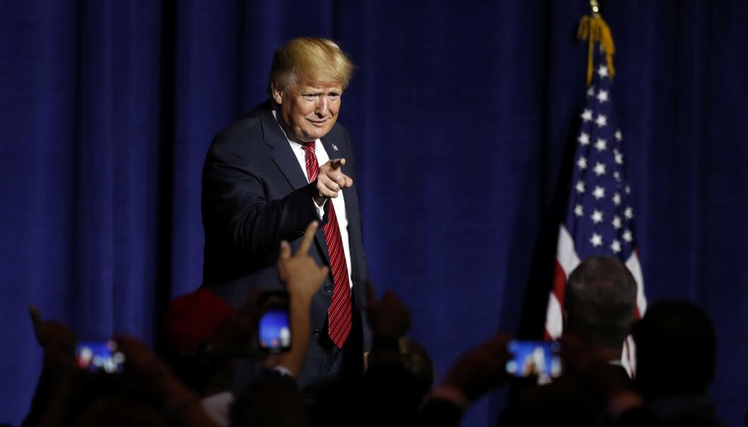 President Donald Trump (72) holdt tale og deltok på en middag i regi av republikanerne i West Des Moines i Iowa tirsdag. Foto: AP / NTB scanpix
