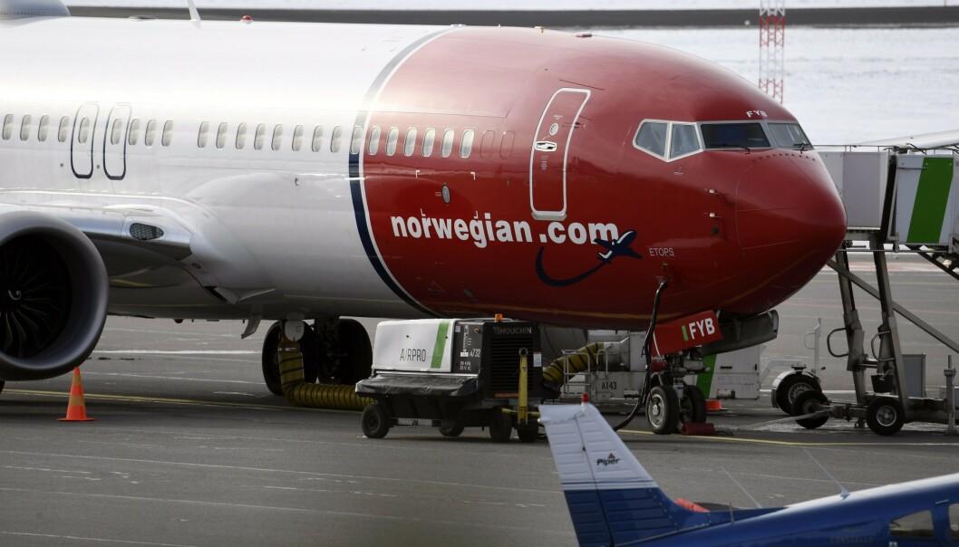 UØNSKET: Et Norwegian Boeing 737 Max 8-fly måtte landet i Frankrike da det var uønsket i tysk luftrom. Foto: Heikki Saukkomaa / Lehtikuva / AFP