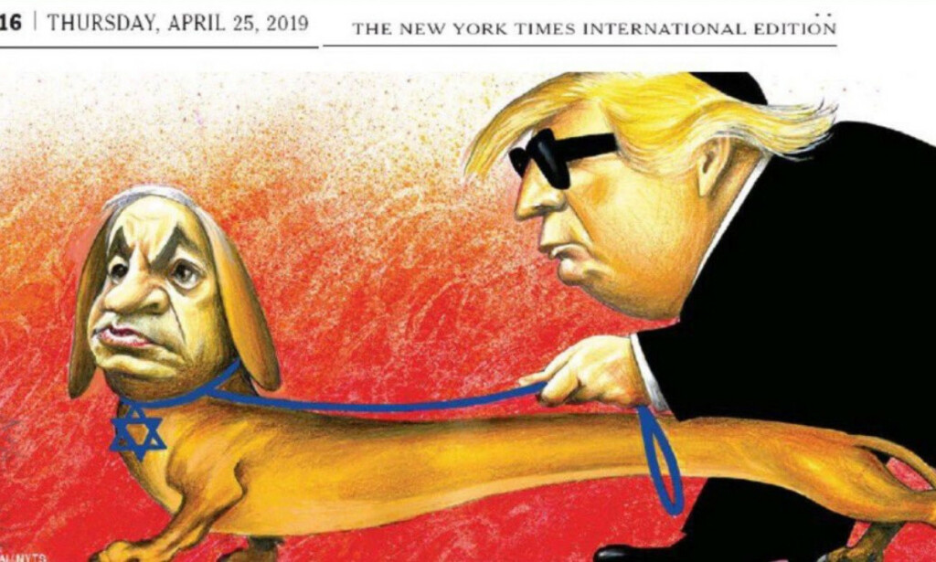 SKAPTE TRØBBEL: Denne karikaturtegningen sørget for en flom av kritikk og beskyldninger om antisemittisme mot The New York Times. Faksimile: The New York Times international edition 25. april 2019