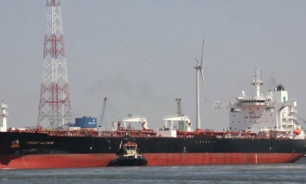 <strong>FRONT ALTAIR:</strong> Dette er skipet som står i brann i Omanbukta. Arkivfoto: Frans Truyens (med tillatelse)