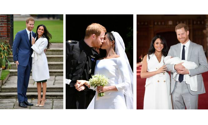 SYMBOLSK: De tre ringene på hertuginne Meghans finger symboliserer forlovelsen i 2017, bryllupet i 2018 og fødselen i 2019. FOTO: NTB Scanpix