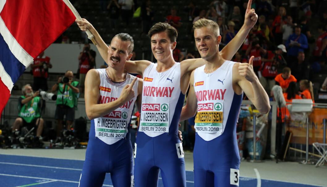 <strong>SUPERBRØDRE:</strong> Hverken Henrik eller Filip Ingebrigtsen har vurdert å boikotte årets store friidrettsbegivenhet. De tre brødrene blir etter alt å dømme å se på startstreken i Doha. Foto: NTB scanpix
