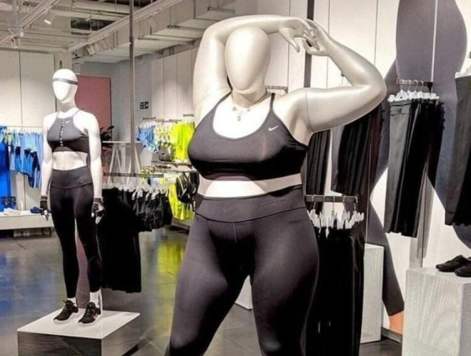 KRITISERES: Journalist Tanya Gold mener Nikes formfulle utstillingsdukker selger kvinner et farlig liv. Foto: Twitter