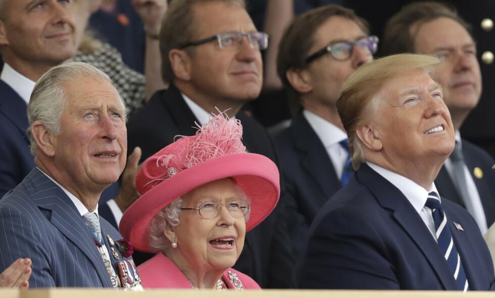 BESØK: Prins Charles av Wales, dronning Elizabeth og president Donald Trump avbildet under Trumps nylige statsbesøk i Storbritannia. Foto: Rex / Shutterstock / NTB Scanpix