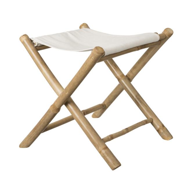 Klappstol i bambus og kanvas (kr 200, Granit).