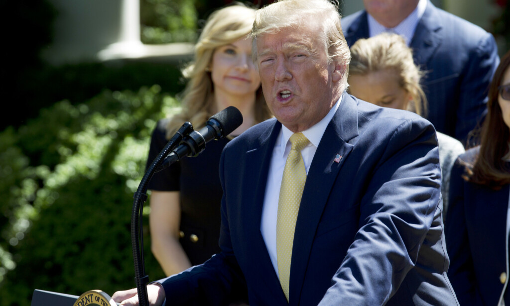 President Donald Trump speaks in the Rose Garden of the White House, Friday, June 14, 2019, in Washington. (AP Photo/Jose Luis Magana)
