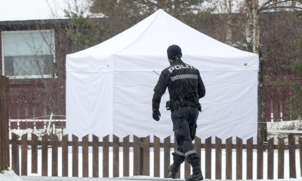 Politiet sperret av et stort område rundt der den 16 år gamle jenta ble funnet drept på Vinstra. Foto: Terje Pedersen / NTB scanpix