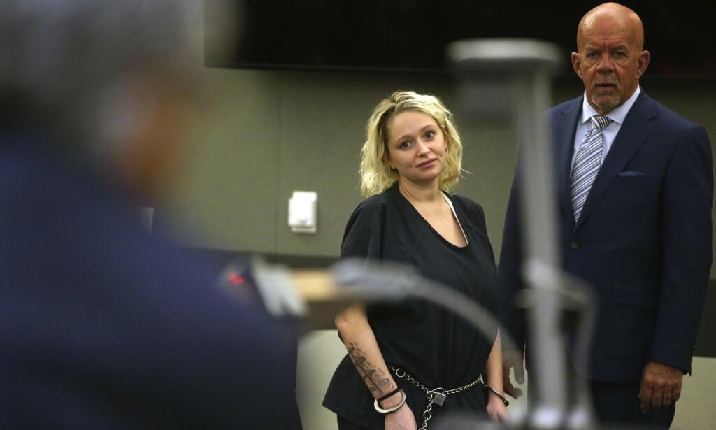 TILTALT: Den 26 år gamle glamourmodellen Kelsey Turner står sammen med kjæresten sin tiltalt for drapet på en 71 år gammel psykiater. Han ble funnet død i bagasjerommet på en forlatt bil like i utkanten av Las Vegas i Nevada 7. mars. Foto: NTB Scanpix