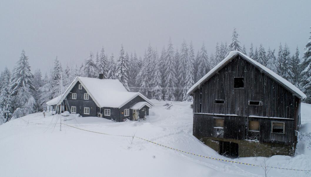 Småbruket til Janne Jemtland og Svein Rishovd Jemtland. Det er gjennomført en rekonstruksjon på stedet, og en film av denne ble vist i retten tirsdag. Foto: Tore Meek / NTB scanpix