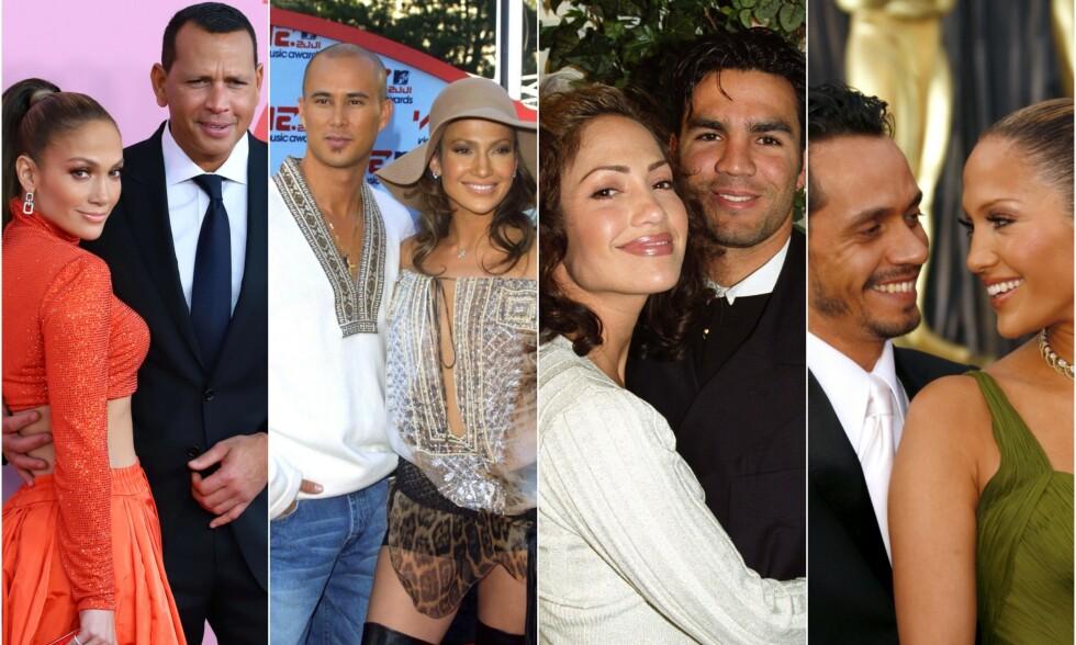 PRØVER IGJEN: Jennifer Lopez er klar for å gifte seg med Alex Rodriguez (til venstre) neste år. Tidligere har hun vært gift med henholdsvis Cris Judd, Ojani Noa og Marc Anthony. Foto: NTB Scanpix