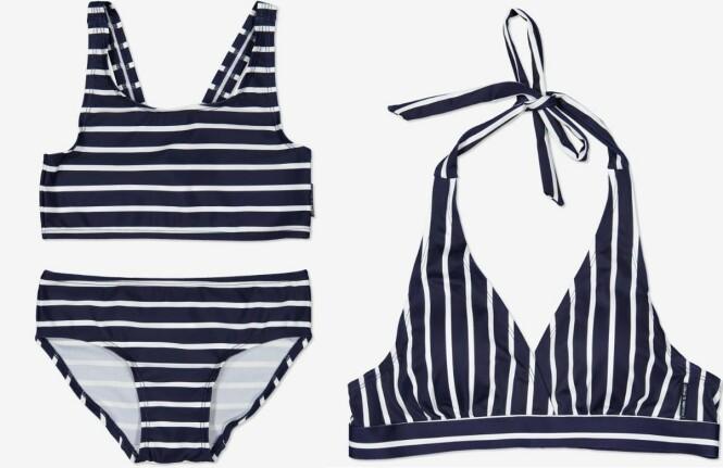MATCHENDE BIKINI: Polarn O. Pyret selger sine stripete bikinier til både voksne og barn. Barnebikinien kan brukes av ettåringer. FOTO: Polarn O. Pyret