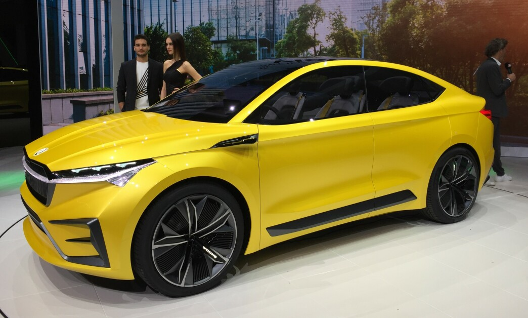 <strong>PRODUKSJONSKLAR:</strong> Skodas nye elektriske familie-SUV blir nesten helt lik konseptbilen Vision iV, som ble vist på Genève-utstillingen i for tre måneder siden. Foto: Rune Korsvoll