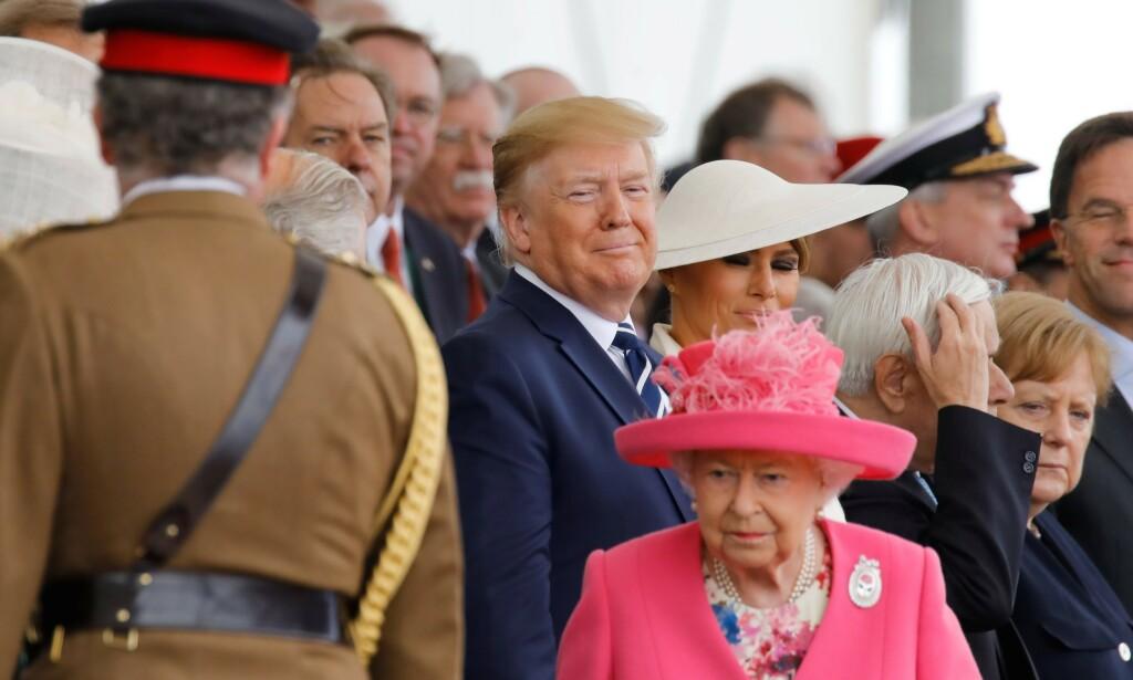 MORO: Ifølge Donald Trump hadde han og dronning Elizabeth det svært morsomt sammen under statsbesøket tidligere denne måneden. Foto: NTB Scanpix
