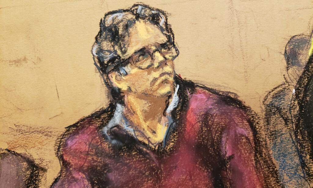 SKYDLIG: NXIVM-grunnlegger Keith Raniere ble onsdag funnet skyldig i retten. Nå risikerer han livstid i fengsel. Skisse: Reuters, NTB scanpix