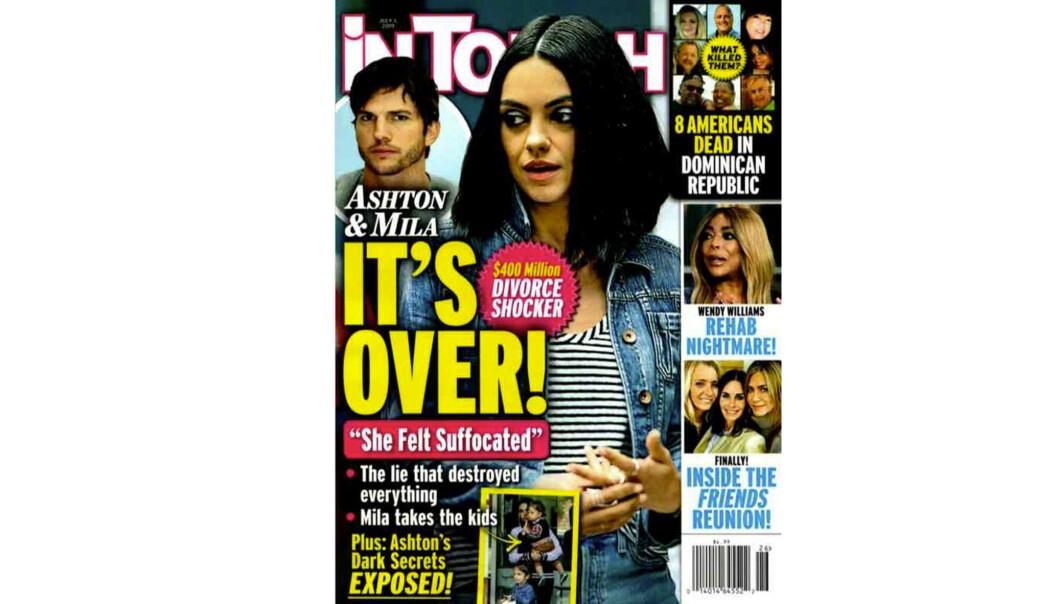 DET ER OVER: Nylig trykket det amerikanske tabloidmagasinet In Touch Weekly denne forsiden, hvor de hevder at Mila Kunis og Ashton Kutcher har gjort det slutt. FOTO: Faksimile