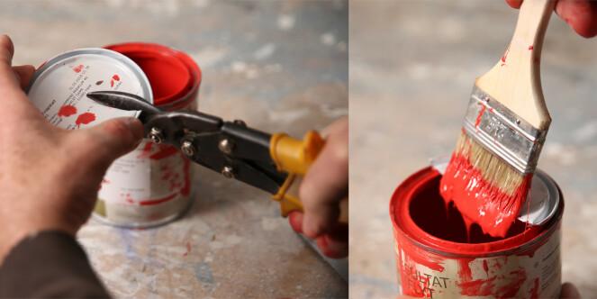 <strong>Smart lokk:</strong> Klipp av et gammelt lokk så kan du stryke av penselen uten å grise til boksen. Foto: Øivind Lie-Jacobsen